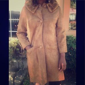 Jackets & Blazers - Vintage Suede Coat with fur collar